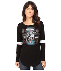Rock And Roll Cowgirl Long Sleeve Baseball Tee 48T8194 Black Women's T Shirt