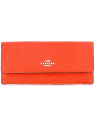 Coach Flap Closure Wallet Yellow Orange