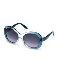 Roberto Cavalli Oversized Ombre Round Sunglasses Light Blue Smoke