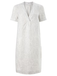 John Lewis Paisley Print V Neck Linen Dress Grey