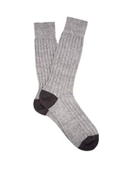 Pantherella Hamada Ribbed Knit Socks Grey
