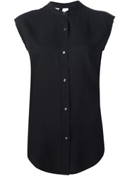 Helmut Lang Sleeveless Band Collar Shirt Black
