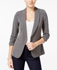 Xoxo Juniors' Ruched Sleeve Blazer Charcoal