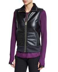 Alala Zip Up Sport Vest With Faux Fur Lining Black