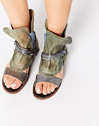 Free People Cut Out Grey Leather Boot Flat Sandals