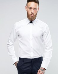 Hugo By Boss Smart Shirt With Leather Tab In White Slim Fit White