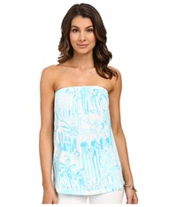 Lilly Pulitzer Tyra Tube Top Resort White La Via Loca Women's Sleeveless Blue