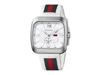 Gucci Coupe 40Mm Perforated Leather Strap Watch Ya131303 White Green Red Watches