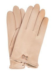 Ted Baker Avia Bow Wrist Detail Leather Gloves Pink