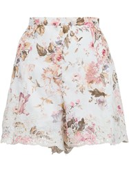 Zimmermann 'Eden' Floral Embroidered Shorts White
