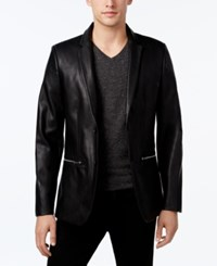 Calvin Klein Men's Classic Fit Faux Leather Blazer Black