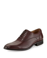 Neiman Marcus Imola Leather Lace Up Oxford Burgundy Red