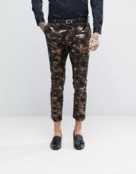 Asos Super Skinny Tuxedo Suit Trousers In Bronze Camo Print Gold