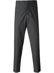 Moncler Gamme Bleu Tapered Contrast Trim Trousers Grey