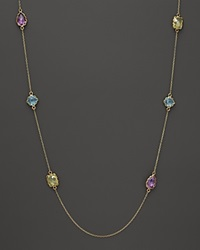 Bloomingdale's Amethyst Blue Topaz And Green Quartz Station Necklace In 14K Yellow Gold 36 Gold Multi