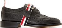 Thom Browne Black Leather Wraparound Strap Brogues