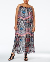 Ny Collection Plus Size Printed Popover Maxi Dress Blue Jazzy