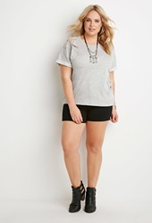 Forever 21 Floral Paneled French Terry Tee Heather Grey