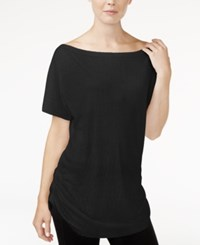 Rachel Roy Ruched Boat Neck T Shirt Only At Macy's Black