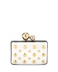 Franchi Aidan Stud Two Tone Evening Clutch Bag White Black