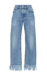 3X1 Wm3 Straight Cropped Mid Rise Fringed Jeans Light Wash