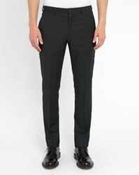 Hugo Hugo Boss Charcoal Mesh Wool Dress Trousers Grey