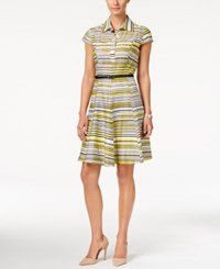 Nine West Striped Belted Shirtdress Yellow