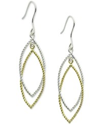 Macy's Two Tone Textured Drop Hoop Earrings In 18K Gold Plated Sterling Silver