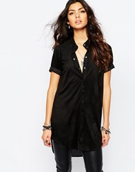 Noisy May Suedette Chiffon Back Shirt Tunic Black