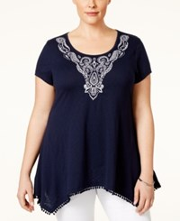 Styleandco. Style And Co. Plus Size Embroidered Handkerchief Hem Top Only At Macy's Independent Indigo Blue