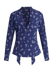Rockins Guns And Print Silk Shirt Blue Multi