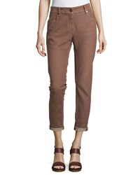Brunello Cucinelli Slim Fit Cropped Jeans Brown