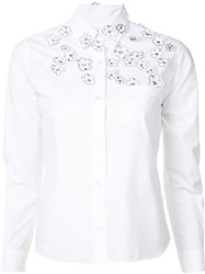Jimi Roos Floral Embroidered Detail Shirt White