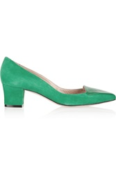 Oscar De La Renta Riley Suede And Patent Leather Pumps Green