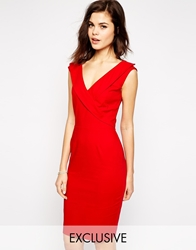 Paper Dolls Pencil Dress With Tuxedo Neckline Red