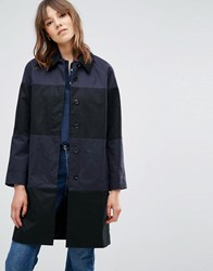 Ymc Stripe Longline Overcoat Navy Black Blue
