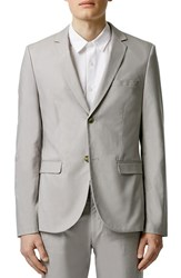 Men's Topman Light Grey Chambray Skinny Fit Suit Jacket