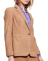 Lauren Ralph Lauren Long Sleeve Leather Jacket Tan
