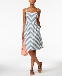 Tommy Hilfiger Chevron Fit And Flare Dress Blue