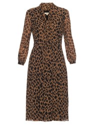 Burberry Liv Leopard Print Silk Chiffon Dress Animal