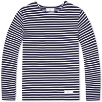 Ami Alexandre Mattiussi Ami Long Sleeve Border Crew Tee Marine And White