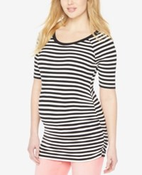 Motherhood Maternity Scoop Neck Striped Tee White Black Stripe