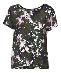 Soaked In Luxury Camouflage Printed Top Multi Coloured