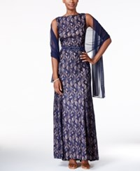Alex Evenings Petite Belted Sequined Lace Gown With Shawl Navy Nude