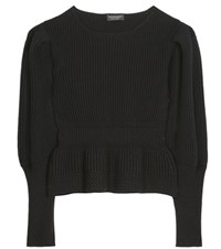 Burberry Wool And Cashmere Peplum Sweater Black