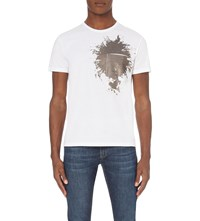 Alexander Mcqueen Sequin Splatter Cotton Jersey T Shirt White Antique Silver