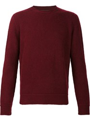 The Elder Statesman Crew Neck Jumper Red