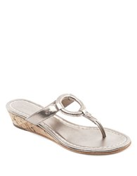Bernardo Matrix Leather Wedge Thong Sandals Platinum