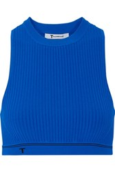 Alexander Wang T By Ribbed Stretch Knit Bra Top Bright Blue