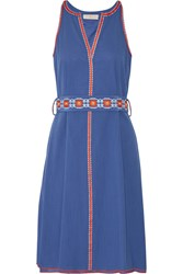 Tory Burch Savannah Embroidered Cotton And Linen Blend Crepon Dress Blue